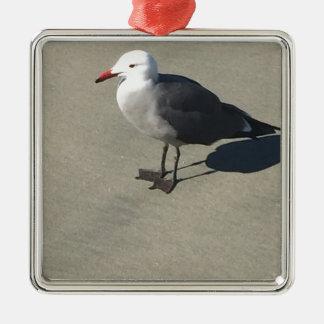 Seagull on Sandy Beach Silver-Colored Square Ornament