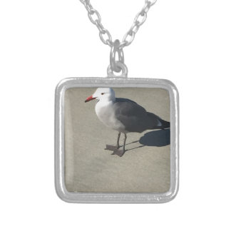Seagull on Sandy Beach Silver Plated Necklace