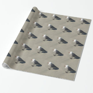 Seagull on Sandy Beach Wrapping Paper