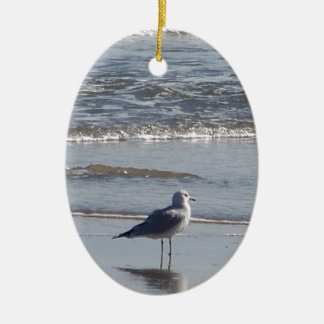 Seagull On The Beach at low tide on east coast Ceramic Ornament