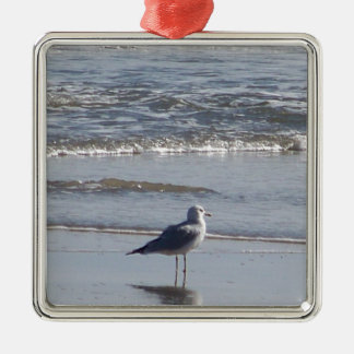 Seagull On The Beach at low tide on east coast Metal Ornament