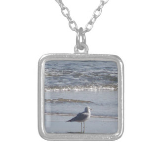 Seagull On The Beach at low tide on east coast Silver Plated Necklace