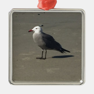 Seagull on the Beach Metal Ornament