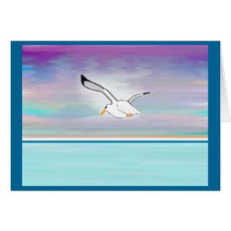 Seagull Over The Sea Card