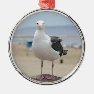 Seagull Silver-Colored Round Ornament