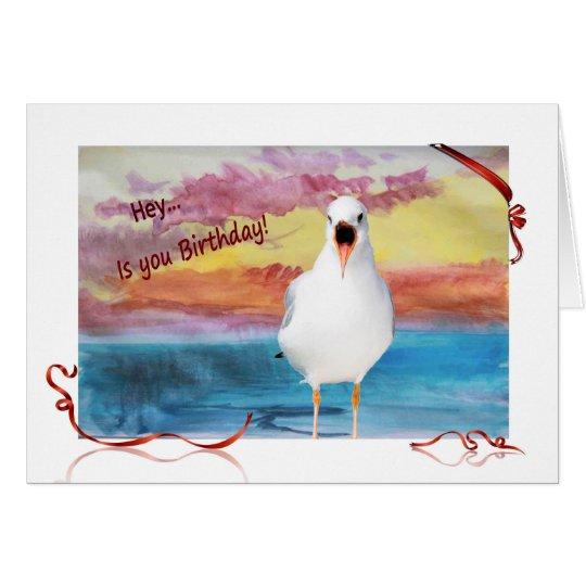 seagull sing Happy Birthday Card