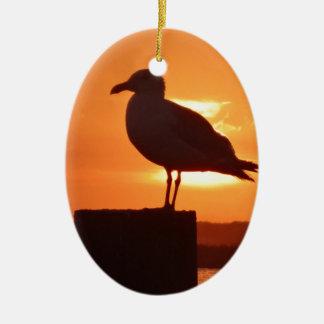 Seagull Sunset Ceramic Oval Ornament