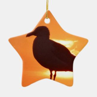 Seagull Sunset Ceramic Star Ornament