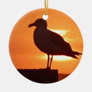 Seagull Sunset Round Ceramic Ornament