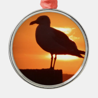 Seagull Sunset Silver-Colored Round Ornament
