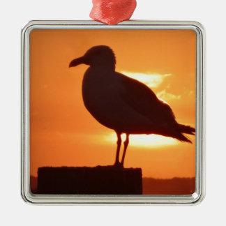Seagull Sunset Silver-Colored Square Ornament