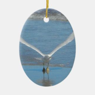 Seagull Take Off Ceramic Oval Ornament