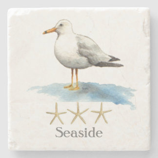 Seagull with Starfish Watercolor Stone Beverage Coaster