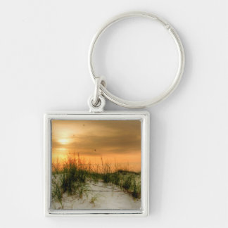 Seagulls at Sunrise Silver-Colored Square Keychain