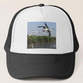 Seagulls at the beach trucker hat