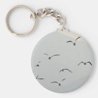 Seagulls Basic Round Button Keychain