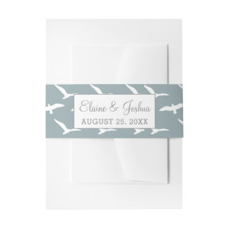 seagulls dusky blue beach invitation belly band