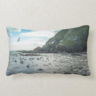 Seagulls flying over the bay lumbar pillow