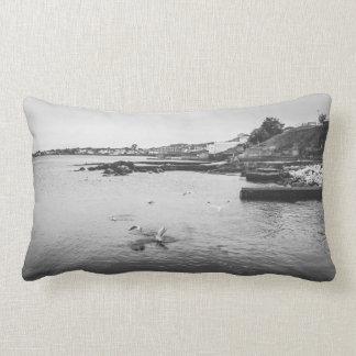 Seagulls flying over the ocean lumbar pillow