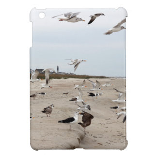 Seagulls Flying, Standing and Eating on the Beach iPad Mini Cases