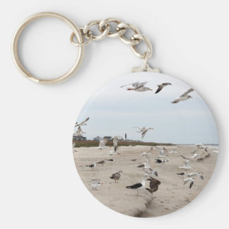 Seagulls Flying, Standing and Eating on the Beach Keychain