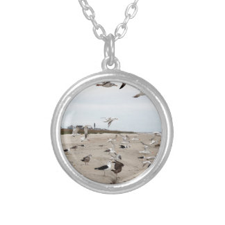 Seagulls Flying, Standing and Eating on the Beach Silver Plated Necklace