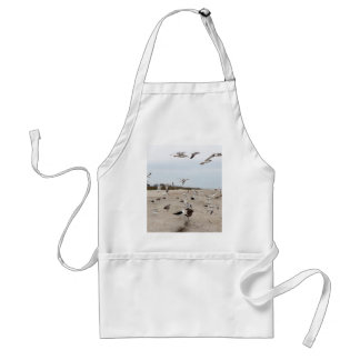 Seagulls Flying, Standing and Eating on the Beach Standard Apron