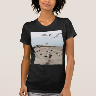 Seagulls Flying, Standing and Eating on the Beach T-Shirt