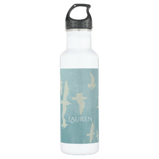 Seagulls in flight on teal blue, flying birds 710 ml water bottle