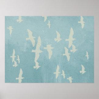 Seagulls in flight on teal blue, flying birds poster