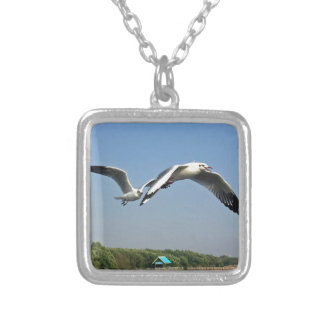 Seagulls in Flight Silver Plated Necklace