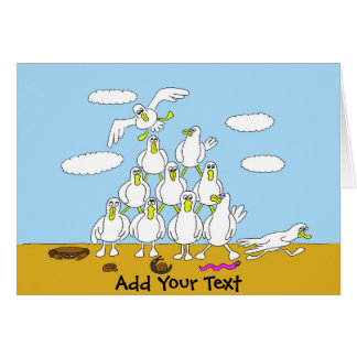 Seagulls In Formation Cartoon Card
