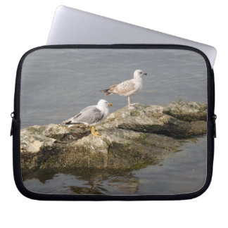 Seagulls on Rock Neoprene Laptop Sleeve 10 inch
