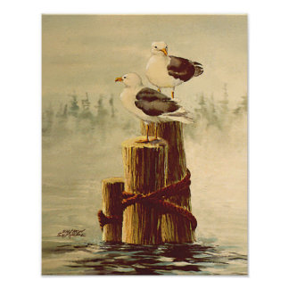 SEAGULLS & PILINGS 2 by SHARON SHARPE Poster