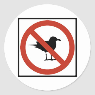 Seagulls Prohibited Classic Round Sticker