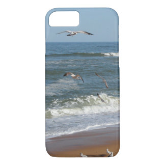 Seagulls Soaring over Waves Rolling onto a Beach iPhone 8/7 Case