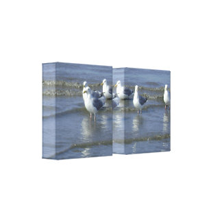 Seagulls Wade on Shore 2-Panel 3D Canvas Print