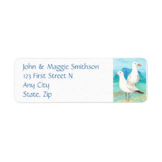 Seagulls - watercolor bird - Address Return Address Label
