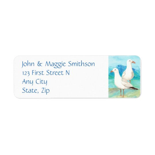 Seagulls - watercolor bird - Address Return Address Label