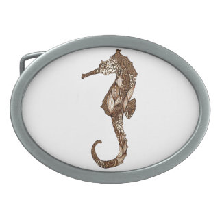 Seahorse 3 oval belt buckle