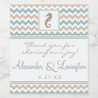 Seahorse and Chevron Beach Wedding Wine Label