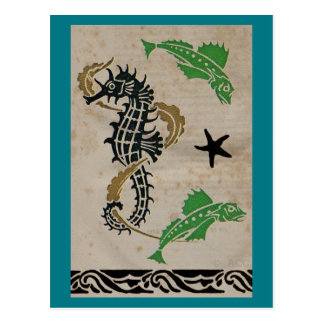 Seahorse and Fish Swimming in Ocean Postcard