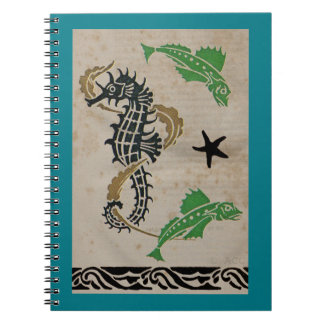 Seahorse and Fish Swimming in Ocean Spiral Notebook