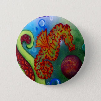 seahorse and octopus tentacle 2 inch round button