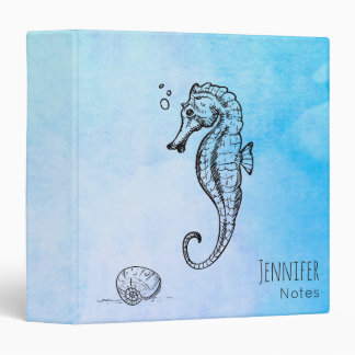Seahorse and Seashell on Blue Watercolor Custom 3 Ring Binder