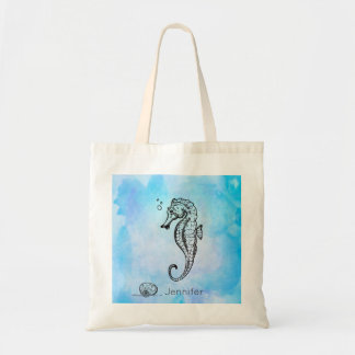 Seahorse and Seashell on Blue Watercolor Custom Tote Bag
