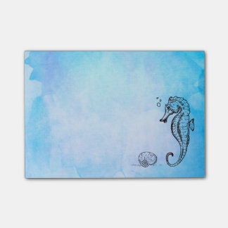 Seahorse and Seashell on Blue Watercolor Post-it Notes