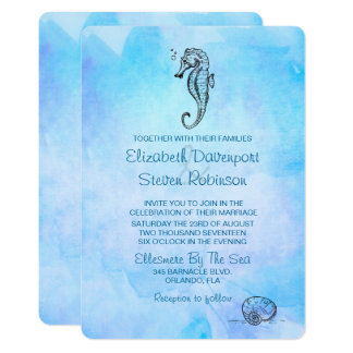 Seahorse and Seashell on Blue Watercolor Wedding Card