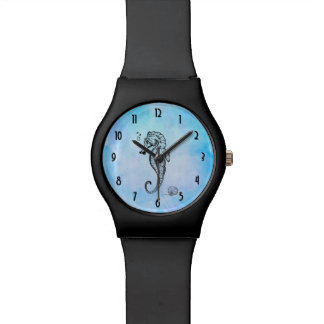 Seahorse and Seashell on Blue Watercolor Wrist Watches