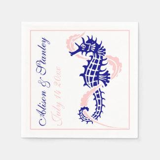 Seahorse and seaweed navy blue, pink wedding disposable napkin